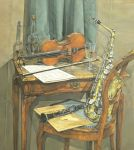 Still life with saxophone and clarinet