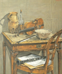 Still life with pitcher and violin